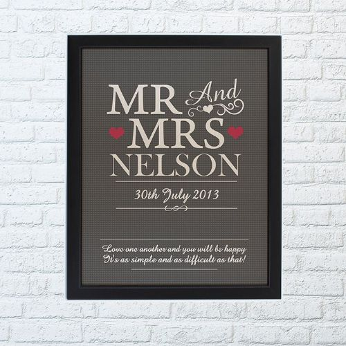 Personalised Mr& Mrs Framed Print
